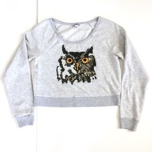 Express Owl Sequin Beaded Cropped Sweatshirt M